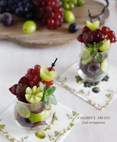 ぶどうで素敵なフルーツアレンジを♪ Fruit Cups, Fruit Art, Fruit Trays, Fruit Salad Recipes, Sweets Recipes, Cheese Fruit Platters, Fruit Garnish, Appetizer Buffet, Food Garnishes