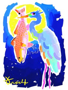 Art Print 11x14 Blue Heron Bird Redfish by artist Kelly Tracht, Lilly Pulitzer Art Style Painting Poster Palm Beach Art Preppy Art