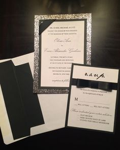 A whimsical, glamorous twist on the classic black tie formal wedding invitation! Love!!!!!! Silver and gray glitter, black and white. Must see the matching RSVP card.   Black satin ribbon on perfect pretty bow on RSVP. The Etsy shop owner will design a special invitation set from scratch to perfectly match your wedding!  A personal favorite from my Etsy shop https://www.etsy.com/listing/230834058/a-black-tie-affair-silver-glitter