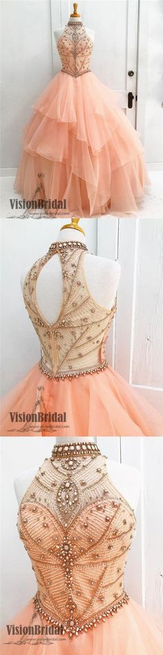 Pearl Pink Halter With Beaded Ball Gown Prom Dress, Sleeveless Open Back Long Prom Dress, Prom Dresses, VB0232 #promdress