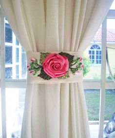 Beautiful tie back Curtains And Draperies, Home Curtains, Panel Curtains, Curtain Holder, Curtain Tie Backs, Hand Embroidery Tutorial, Ribbon Embroidery, Cortina Floral, Flower Curtain