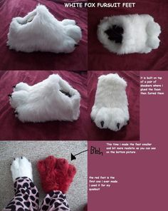 white fox fursuit feet paws by *AlieTheKitsune