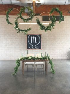 Wedding hoops, initial  chalkboard, greenery garland