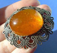 Cognac Honey Orange Natural Baltic Amber gemstone brooch vintage jewelry 15g