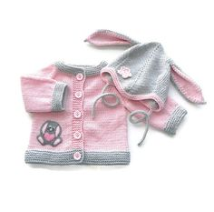 Pink elephant sweater silver grey baby girl jacket merino wool baby cardigan MADE TO ORDER Baby Knitting Patterns, Knitting Baby Girl, Baby Cardigan Knitting Pattern, Baby Clothes Patterns, Knitting For Kids, Knitted Baby Outfits, Knit Baby Sweaters, Girls Sweaters, Cardigan Bebe