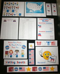 election stuff, election activities, election lessons, election packet, election activities for early elementary, election writing prompts, election ballots, election posters, Republican party elephant poster, Democratic party donkey poster, ballot for the election, I voted badge, crafts for the election, election crafts, election writing prompts, writing prompts for November, bulletin board ideas for November, November bulletin boards,