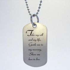 NA Narcotics Anonymous 3rd Step Prayer Dog Tag Necklace