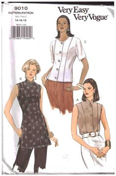 Vogue Sewing Pattern 9010 Misses' Top Size:  8-10-12 or 14-16-18  Uncut $12.50