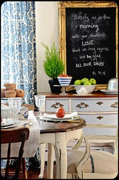 The Old Painted Cottage Unique Goods and Curious Finds.  Good chalk paint table, chair and cabinet.  Like leaving table top dark.  Love texture of burlap fabric on cushion seat.  Very French!!!