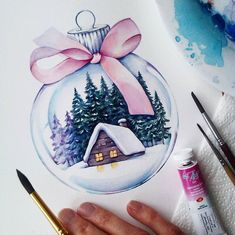Illustrations aquarelles Illustrations aquarelles You are in the right place about art dessin horreu Watercolor Christmas Cards, Christmas Drawing, Christmas Paintings, Watercolor Cards, Christmas Art, Watercolor Illustration, Watercolor Paintings, Watercolor Design, Christmas Cookies