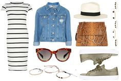 Striped dress Denim jacket  - Styled by Manon