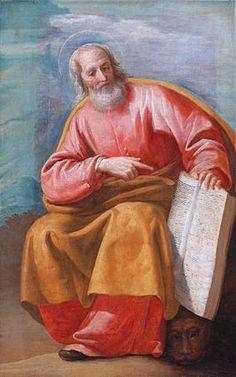 Dit is een plaatje van Marcus, dit is de evangelist die het verhaal van de 2 broden en de 5 vissen heeft geschreven.