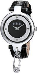 "Versus by Versace Women's SOB020014 ""Key Biscayne"" Stainless Steel Watch with Black Leather Band"