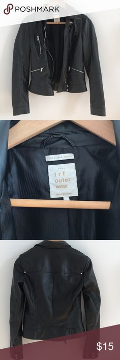 Zara leather jacket Faux leather jacket from zara. Super cute on! Just not my style anymore Zara Jackets & Coats
