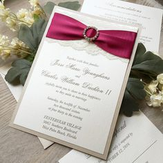 JESSI   Lace Wedding Invitation With Gold Rhinestone Buckle   Ivory Lace  And Wine Ribbon On
