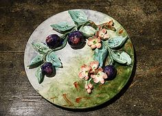 Rare French Antique Majolica Longchamp Plums Wallhanging Plate