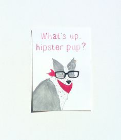 Hipster Dog Illustration Original Watercolor by StudioFroezel