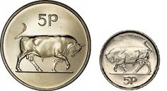 Ireland decimal five pence (5p) reverse.  In 1993, the Irish mint produced a smaller coin in response to diminishing value / higher production costs + the fact that many people were defrauding German vending machines by using it instead of a deutchemark (which was the same size and weight as the larger Irish and UK 5p coins).
