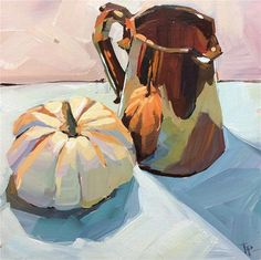 "Daily Paintworks - ""Copper and Pumpkin"" - Original Fine Art for Sale - © Teddi Parker"