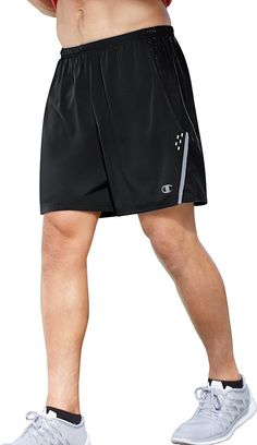 Champion Men's Performax Marathon Running Shorts, Black/Stealth, X-Large. Pull-on running short featuring mesh liner brief and reflective Champion logo.