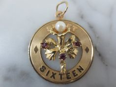 Vintage sweet Sixteen Amethyst and Pearl 14K Gold Pendant or Charm..