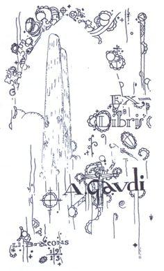 Ex libris del arquitecto modernista catalán Antoni Gaudí (1852-1926)