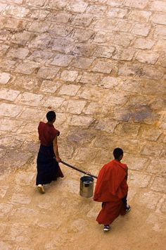 Carrying Yak Butter, Ganden Monastery, Tibet