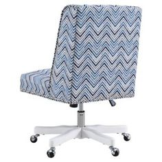Product Image for Linon Home Dobby Chevron Office Chair in Blue/Grey 2 out of