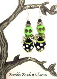 Halloween Earrings Day of the Dead Jewelry by baublesbeadsncharms, $12.00