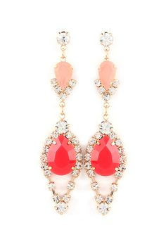 Crystal Meagan Earrings in Coral and Peach