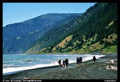 Backpackers on black sand beach and King Range, Lost Coast. California, USA,Part of gallery of color pictures of California by professional photographer QT Luong, available as prints or for licensing. Humboldt County California, California Travel, Northern California, Black Sand Beach Hawaii, Beach Wallpaper, Big Waves, Beach Walk, Day Hike, Sandy Beaches