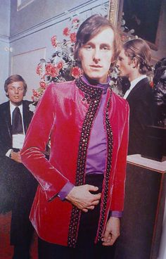"""Dandy Fashion: Michael Fish 1968 Most famous for outfitting David Bowie and Mick Jagger in dresses, Michael Fish was a 60′s-70′s British designer who is often credited with leading the """"Peacock Revolution"""" in men's fashion."""