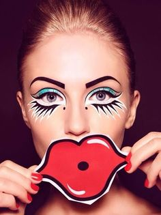 omg I want to do this to my eyes.  pop art makeup                              …