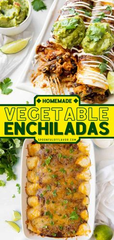 Try out some Mexican food recipes with this Vegetable Enchiladas. It's a hearty mix of roasted veggies, cheese, and homemade enchilada sauce. This vegetable main dish is sure to become a regular at… Mexican Food Recipes, Real Food Recipes, Vegetarian Recipes, Cooking Recipes, Healthy Recipes, Cooking Tips, Yummy Food, Vegetable Enchiladas, Vegetarian Enchiladas