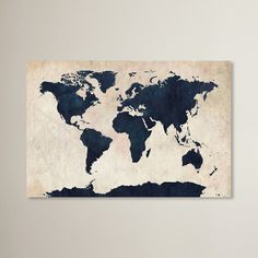 World Map - Navy by Michael Thompsett Graphic Art on Wrapped Canvas