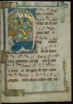 "Beaupre Antiphonary Vol. 3 Historiated initial ""H"" with Nativity Annunciation to Shepherds Walters Manuscript W.761 fol. 4r by Walters Art Museum Illuminated Manuscripts"