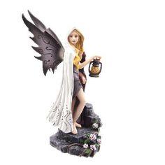 Dark Fantasy Fairy with White Cloak & Lantern