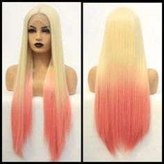"""Princess"""" Platinum Blonde Ombre Pink Synthetic Lace Front Wig,High Temperature F. Short White Hair, Long Gray Hair, Long Hair Wigs, Human Hair Wigs, Platinum Blonde Ombre, Grey Hair Looks, Braid Accessories, Rainbow Wig, Green Wig"""