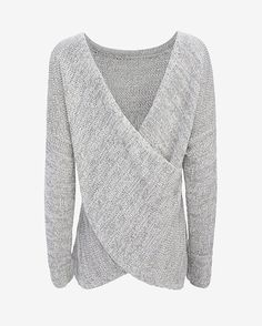 Derek Lam 10 Crosby EXCLUSIVE Cross Front Sweater: Understated with a totally unexpected cross over detail which can be worn at front or back-- we love pieces that can have versatile styling. Long sleeves. V scooped drape at the reverse side of the cross over. In grey. Length from shoulder to hem: 25 ...