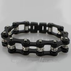 Motorcycle Chain Bracelet All Black With Crystals