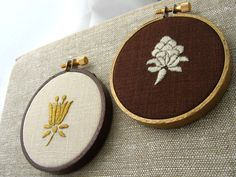 EARTHLY DELIGHTS set of two hand embroidered motifs in hoop frames