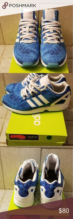 Adidas zx-flux blue waves Blue waves with white trim Comfy shoes Used adidas Shoes Sneakers