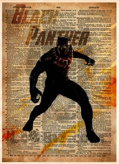 #BlackPanther art, splatter superhero art, silhouette art, black panther super hero