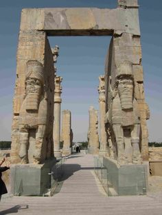 The entrance to the ancient city of Persepolis in Iran.  Persepolis came to power around 500 BC and embodied the success and power of the Achaemenid Empire that preceded the Greek and Roman Empires.