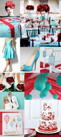 Red And Teal Themed Wedding - i like the lanterns and streamers