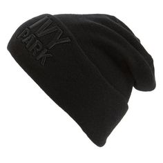 Women's Ivy Park Logo Thermal Beanie (£21) ❤ liked on Polyvore featuring accessories, hats, black, chunky beanie, logo beanie, embroidered hats, embroidery hats and logo beanie hats