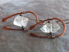 Herkimer diamond earrings- hammered copper earrings by BirdandBeed https://www.etsy.com/shop/BirdandBeed?ref=si_shop