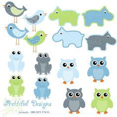 Owl Clip Art Hippo Clip Art Frog Clipart Bird Clip Art Baby Boy Colors Digital Scrapbooking Commercial Use (668)