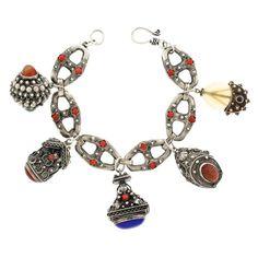 Vintage Italian Sterling Charm Bracelet c1920s | From a unique collection of vintage charm bracelets at https://www.1stdibs.com/jewelry/bracelets/charm-bracelets/