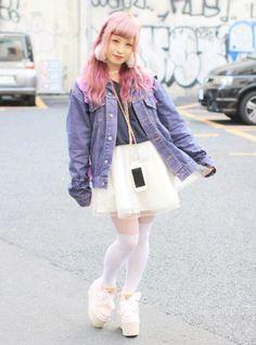 Japanese Street Fashion, Tokyo Fashion, Kpop Fashion, Fashion Wear, Fashion Outfits, Harajuku, White Tights, Tokyo Street Style, Tokyo Streets